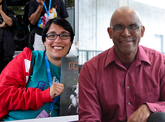 Description: a side-by-side collage of Ladan Sahraei and Parker Johnson's photos. At the left is Ladan, a person of Persian descent. They have short black hair and wear glasses, smiling at the camera. They are wearing a blue-green shirt and wearing a red hoodie. They are holding up a 2015 Fringe Program Guide, half of which is cropped from the photo. At the right is Parker Johnson, a man of African descent. He is bald and wears glasses, smiling at the camera. He wears a long-sleeved maroon shirt. Caption: Welcome the newest members of the Fringe's Equity, Diversity, and Inclusion Committee: Ladan Sahraei and Parker Johnson! Photo of Ladan by Clayton Wong.